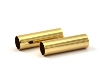 Large Tube Bead, 12 Gold Plated Tubes (6x20mm) Bs 1533 Q069