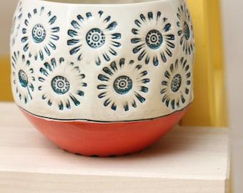 cactus pot // boho decor // watercolor // planter