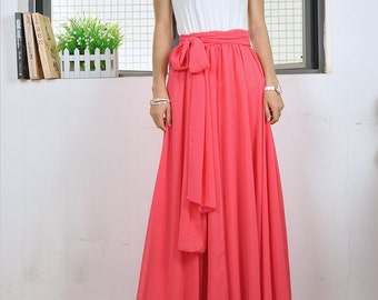 High Waist Maxi Skirt Chiffon Silk Skirts Beautiful Bow Tie Elastic Waist Summer Skirt Floor Length Long Skirt (037),#47