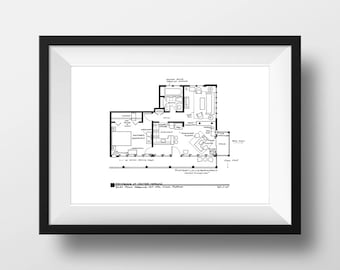 Dexter Apartment Poster - TV Show Floor Plan - Black Line Print  for Home of Dexter Morgan **As seen on Today Show