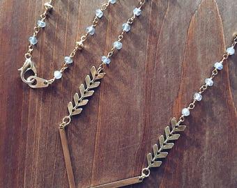 Gold Chevron Labradorite Necklace
