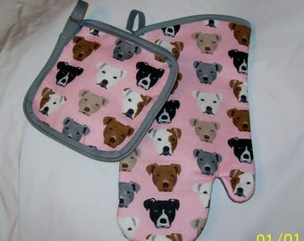 Pink Pitbull Pittie Staffordshire Staffy Dog Oven MItt and Hot Pad Pot Holder Set Great Gift!
