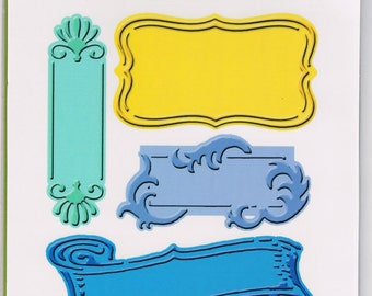Cuttlebug FANCIFUL LABELS cut & emboss! Embossing plus 5 sizes shapes styles embossed