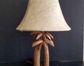 Vintage TIKI palm trees table lamp with original shade - Mid-Century