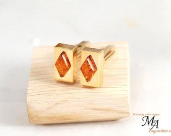 14202 Elegant Cufflinks with Amber Stone + Certificate cuff links man