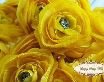 2 pcs Sunshine Yellow Color Silky Soft Ranunculus Artificial Flower Heads Color 3.5in DIY Bouquets Arrangements Hair Clips Wedding