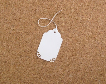 50 Daisy Punched White Gift Tags with Choice of Bakers Twine, Wedding Gift Tags, Shower Favor Tags, Candy Buffet Bag Tags, Swing Tag