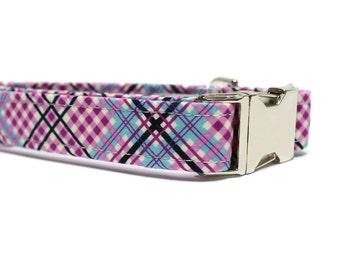 Purple Plaid Dog Collar | Your choice of metal buckle or plastic buckle | Purple Dog Collar | Plaid Dog Collar | Blue Dog Collar