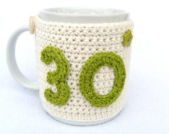 Handmade, 30th Birthday cream crochet mug cosy. Homewares, birthday gift, accessories, 30th birthday gift, crocheted,  cup cosy, coffee cosy