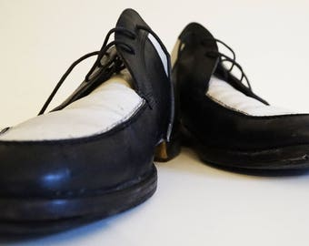 Two-Tone 50' Hepcat Black&White Leather Shoes - Size 9,5