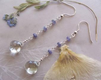 "Green Amethyst Faceted Drop & Tanzanite Gemstone Long Dangle Earrings ~ Sterling Silver Earwires ~ 2.6"" Length"