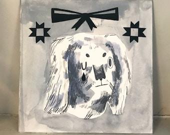 Original Gouache Painting - Grey Dog