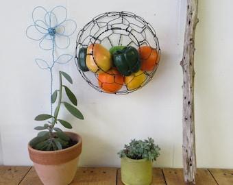Wall Hanging Half Round Wire Basket