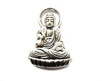 Buddha silver metal Buddha, meditation, 30mm pendant charm