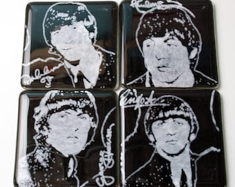 Beatles John Paul George Ringo Musicians Fused Glass Coaster 4-pack, Rock and Roll, Music, 1960s, 60s