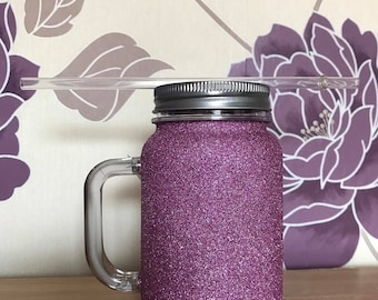 Glittered plastic mason jar