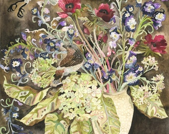 Art Print Watercolor Painting Original Bouquet with Two Sparrows