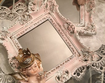Shabby chic baroque mirror set of 2 with a pair of crowned Lego Bisque Cherub Busts