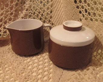 Vintage Mikasa China Mediterrania Espresso Brown Sugar Bowl and Creamer