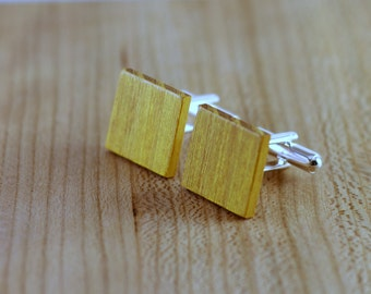 Wooden Cufflinks - Osage Orange - Groomsmen gift - 5th wedding anniversary present - Square Cuff Link - Gift for Him - Mens Jewelry