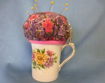 Pin Cushion, Tea Cup Pin Cushion, Vintage Tea Cup Pin Cushion