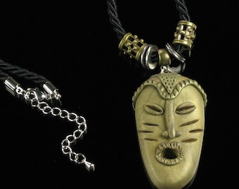 Tribal African Mask Necklace, Ethnic Tribal Mask Unisex Pendant - Unique African Art Jewelry - Clay Necklace - Friend Gift - Ethnic Jewelry