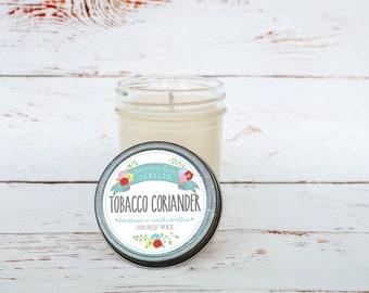 Tobacco Coriander Soy Wax Candle in 8 oz. Jelly Jar - Gift for Dad, Father's Day, Man, Boyfriend, Husband, Masculine, Tobacco