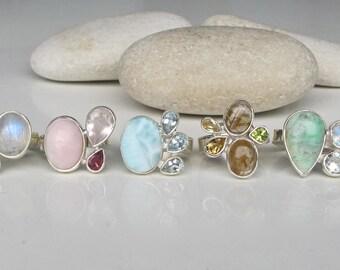 Moonstone Ring- Opal Ring- Tourmaline Ring- Topaz Ring- Gemstone Ring- Birthstone Ring- Turquoise Ring- Amethyst Ring- PeridortRing- Ring