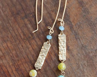 Hammered Gold Bar Earrings w/Gemstones