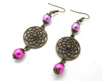 Bronze earrings, pink beads