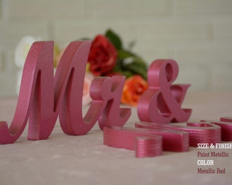 Metallic Mr and Mrs Wedding Signs, Mr & Mrs Wood Wedding Decoration, Glitter, Mr and Mrs Wedding Photo Prop, Glitter Mr and Mrs