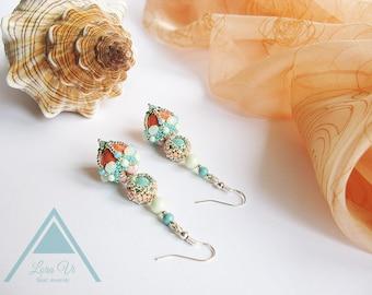 Swarovski big pearl earrings beadwork orange mint bridesmaid earrings bohemian bead woven earrings coral seed bead earrings wedding jewelry
