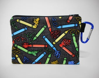 Crayon Coin Purse, Black Carabiner Clip Change Purse, Child coin purse
