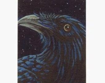 ACEO Crow Corvid Raven 10 Night Starry Sky Ltd Ed Print Mini Art Card by Gail Ragsdale