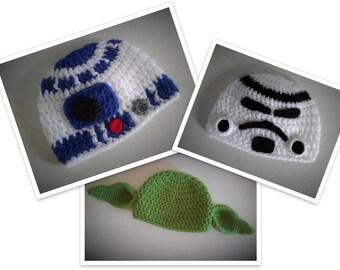 R2D2 Hat, Stormtrooper Hat, Yoda Hat, Star Wars Themed Hat, Newborn Photo Prop, Crochet Baby Hat, Star Wars Gift, Baby Shower