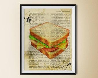 Sandwich poster, sandwich print, food print, food digital print, food poster, food art, kitchen art, kitchen wall art, kitchen wall print