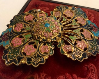 Antique French Champleve Enamel Buckle Stunning Colors