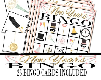 New Year's Bingo Game, New Year's Eve Party, Party Game, New Year's Eve Game, New Year's Eve Activity, Holiday Party Game