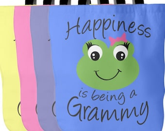 Grammy Tote Bag - Happiness is being a Grammy - Perfect Gift for Grammy - Grammy Book Bag