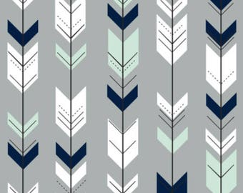 Arrows Nursery Fabric by the Yard Arrow Fabric Gray Navy Mint Cotton Fabric Minky Jersey Knit Childrens Fabric Baby Fabric Quilting Fabric
