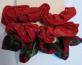 Holiday Hair Scrunchies - Size Large, Size Small, Girls, Ladies, Women, Hair Accessories, Rubber Bands, Hair, Pony Tails, Christmas Prints