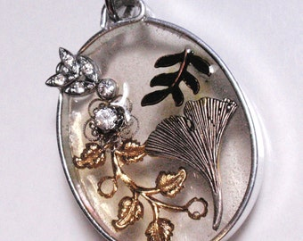Ginko Leaf Large See Through Geometric Oval Pendant Vintage Reclaimed Assemblage and Resin Ornament Sun Catcher D3