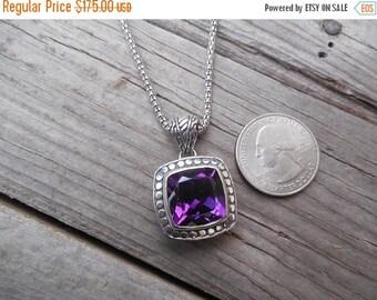 ON SALE Beautiful deep purple amethyst necklace handmade in sterling silver