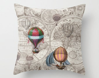 Hot Air Balloon Pillow - Throw Pillow maps , steampunk decor, Vintage Maps, unique, brown, industrial chic, travel decor