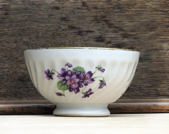 "antique  french  cafe au lait bowl ,country flowers, ""violettes"", gold and white porcelain"