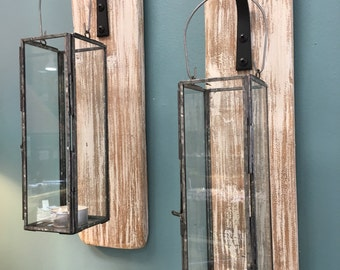 SALE-Lanterns sconces on Reclaimed Wood-Wall Decor-Cottage Chic-Home Decor-One of a Kind-Candle Holders-Lanterns-Set of 2