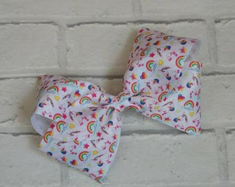 "Girls 8"" inch rainbow unicorn boutique hair bow like JoJo Siwa Bows Signature keeper dance moms"