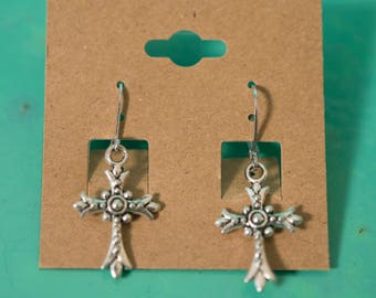Silver Metal Ornate Cross Earrings