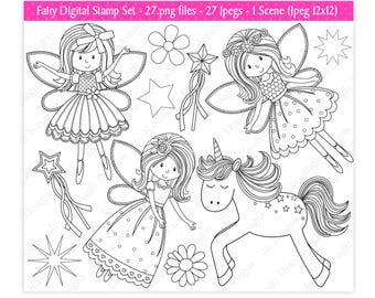 Fairy Digital Stamps,Fairy Stamps,Unicorn Digital Stamps,Digital Stamps,Stamps,Fairy Clipart,Unicorn Clipart,Scrapbooking,Commercial Use