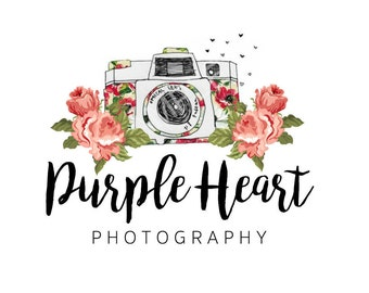 Pre-made Logo Design - Floral Camera Logo, Photography Logo, Customizable Logo, Small Business Logo, Business Branding